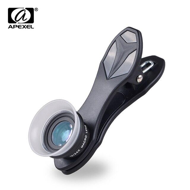 APEXEL телефон объектив 2 в 1 клип-на 12 X Макро + 24 X Супер Макро объектив Комплект для Iphone 7/6s/6s плюс смартфоны IOS и Android 24XM