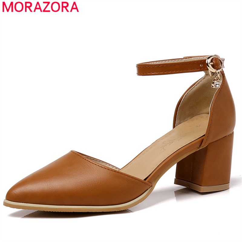 MORAZORA new fashion summer spring pumps women shoes with buckle pointed toe high heels square heel elegant female shoes new hollow pointed stiletto elegant spring summer women pumps sweet bowknot high heeled shoes thin pink high heel shoes k88