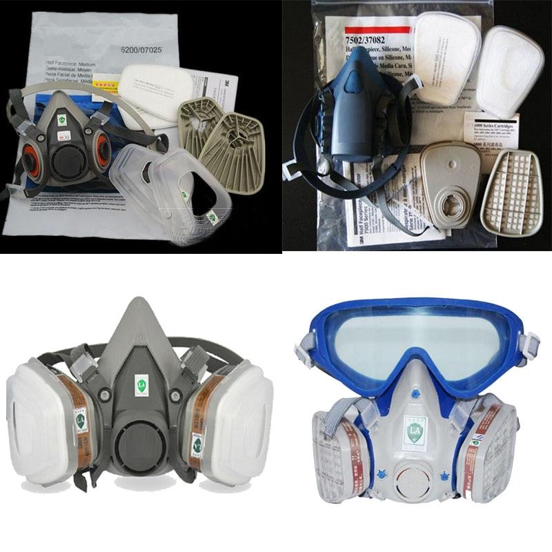 Respirator Painting Spray Dust Gas Mask Same For 3 M 6200 501 5N11 6001 7502 Half face Respirator mask 3m 7502 6001 original respirator half face mask painted activated carbon organic vapor gas benzene cs2 acetone m2117