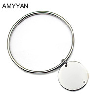 Engrave European Style Simple Coin Pendant For Women Ladies Metal Silver Stainless Steel Bracelet Bangle With