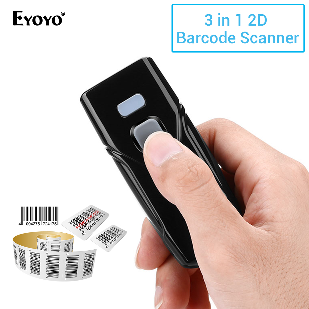 Eyoyo Barcode Scanner Wireless Bluetooth 2D Mini 1D And QR Equipped Dongle Connection