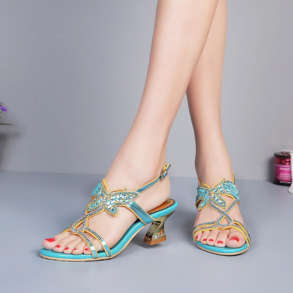2017 Summer Sexy Girl Blue Butterfly Shape Gemstone Aquare Heel High Heels Women Crystal Sandals Peep Toe Woman Wedding Shoes
