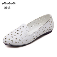 Whoholl Flats for Women Comrfort Genuine Leather Flat Shoes Woman Slipony Loafers Ballet Shoes Female Moccasins Big Size 33-43 недорого
