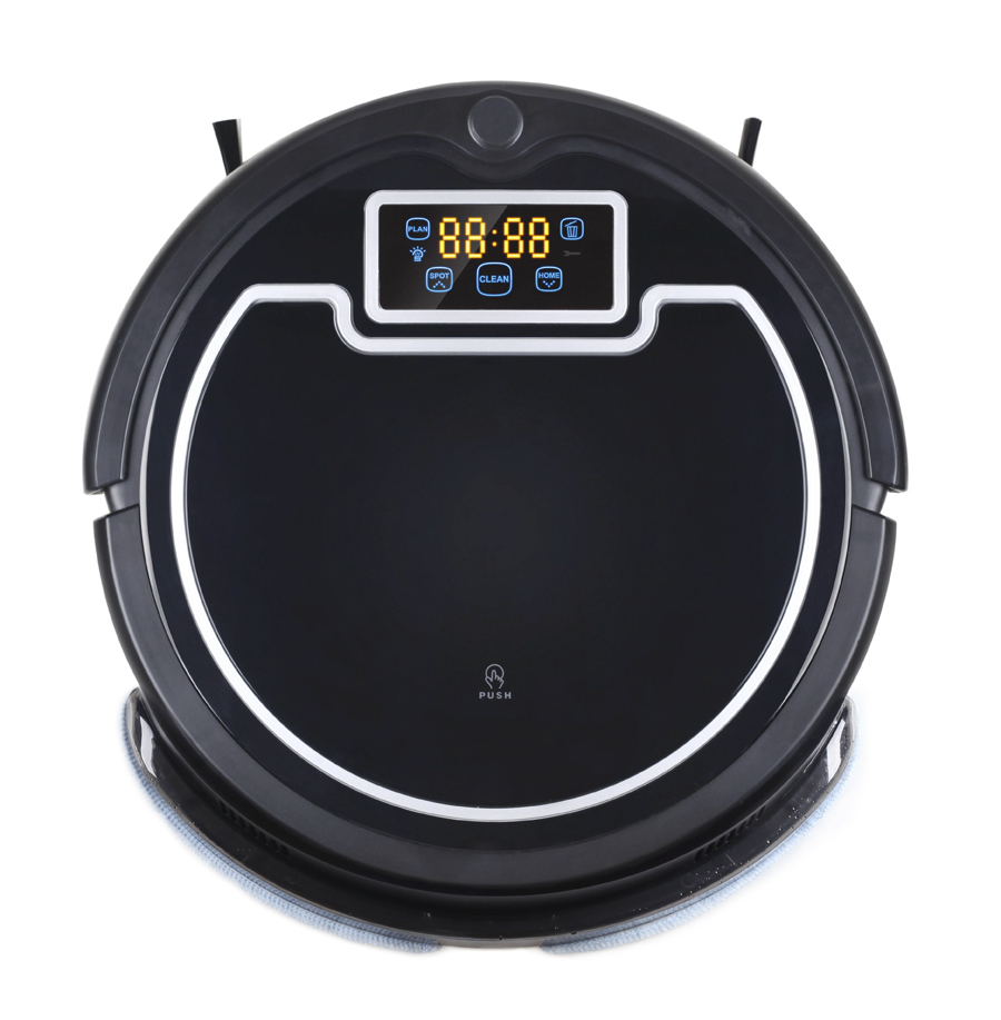 Robot Vacuum Cleaner,with Water Tank,Wet & Dry Mop,TouchScreen,with Tone,Schedule,VirtualWall,SelfCharge,UV Lamp 2017 wifi smartphone app control sweeping vacuum sterilize wet and dry mop vacuum cleaner robot qq6 update with water tank