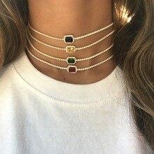 rainbow birthstone cz wedding choker necklace tennis cz chain gorgeous trendy fashion european women elegance collar chain