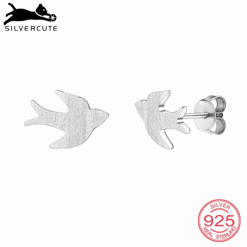 SILVERCUTE Authentic 925 Sterling Silver Swallow Stud Earrings For Women Tiny Animal Earring Fine Jewelry Gift For Her SCE6529B