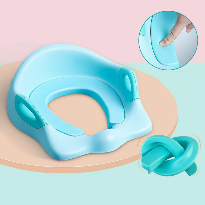 Baby Boy Girl PU Soft Pad Toilets With Grab Handles Kids Safe Potty Mat Belt Thicken Toilet Seat Cover Ring High Quality Potties