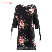 Bebovizi Women New 2019 Summer Fashion Dress Casual Office Plus Size Sexy Straight Elegant Flower Print Vintage Black Dresses