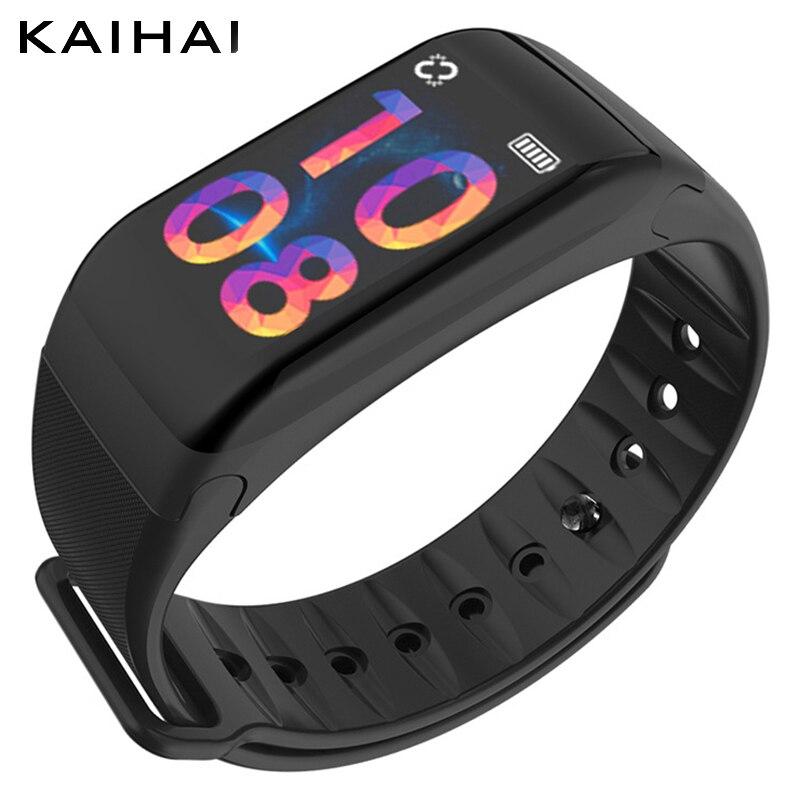 KAIHAI Inteligente Pulseira Pulseira De silicone de Fitness Pressão Arterial de Oxigênio Monitor de Freqüência Cardíaca Rastreador dispositivos wearable cronômetro