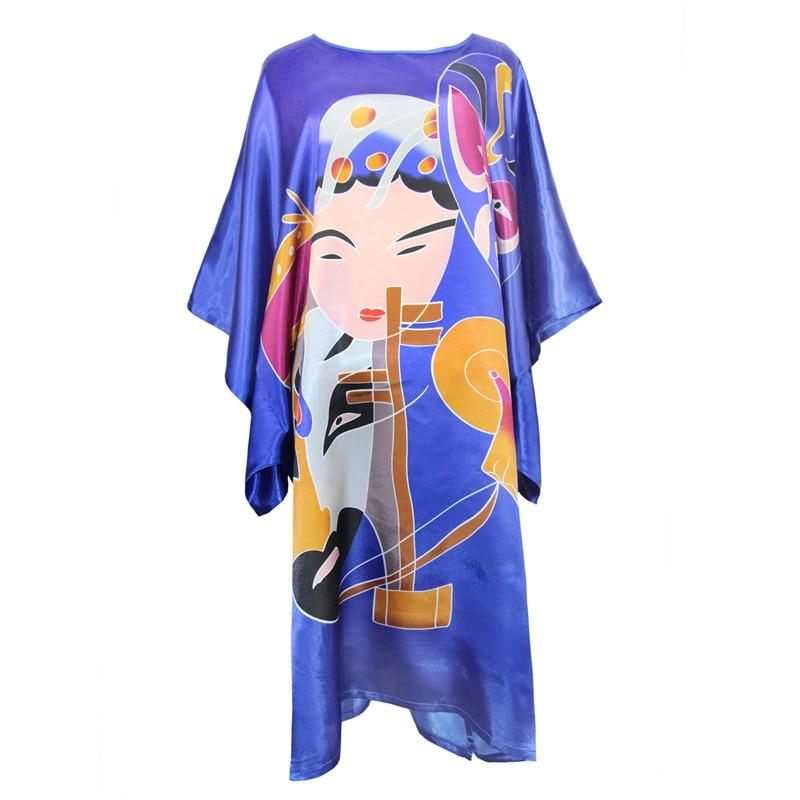 Blue Rayon Plus Size Nightdress Chinese Women Robe Bath Gown Sleepwear Robe Knee-Length Night Dress Bathrobe Loose Kaftan