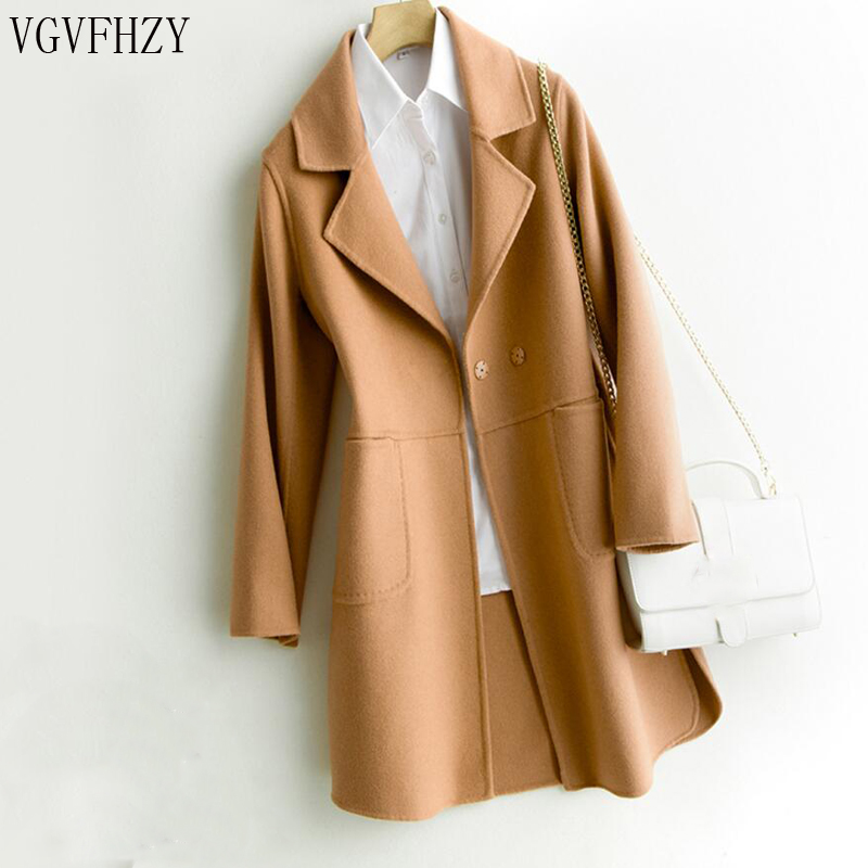 2018 New Autumn Winter Double sided Wool Coat Female Medium Women s Cashmere Jacket Overcoat Woolen