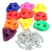 10Pcs Kids Plastic Textured Climbing Rocks Wall Stones Assorted Kit Random Bolt Climbing Accessories