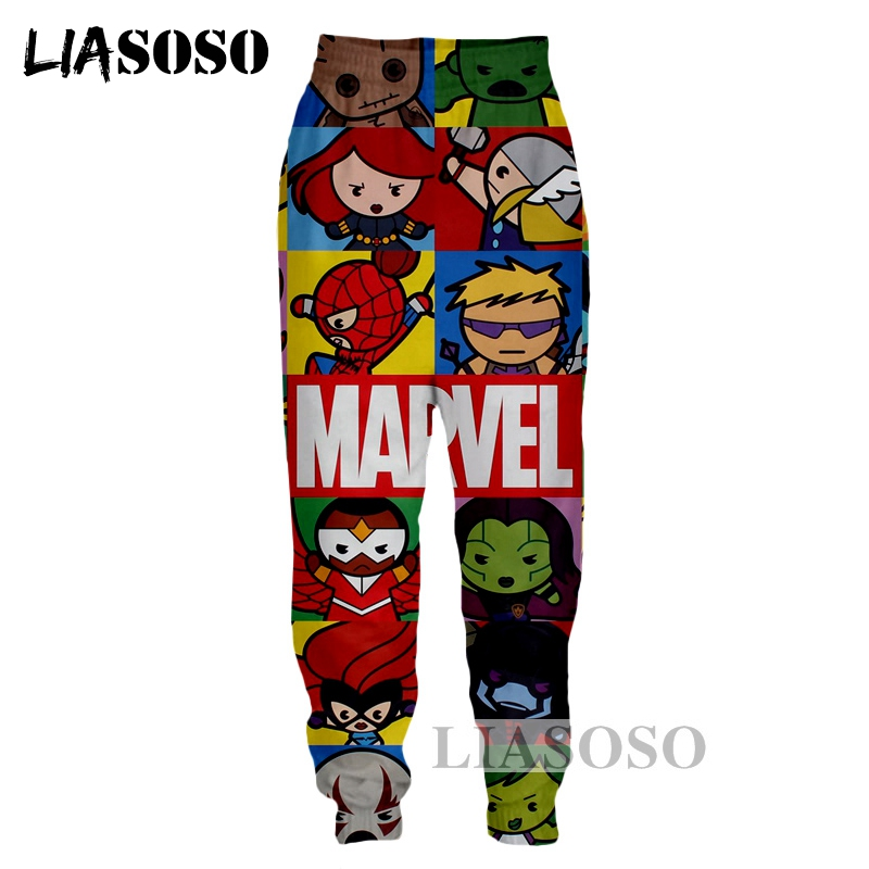 LIASOSO NEW Harajuku Cartoon Superhero Marvel Spiderman Flash Super 3D Print Pants Unisex Good Quality Trousers Brand Pant G431