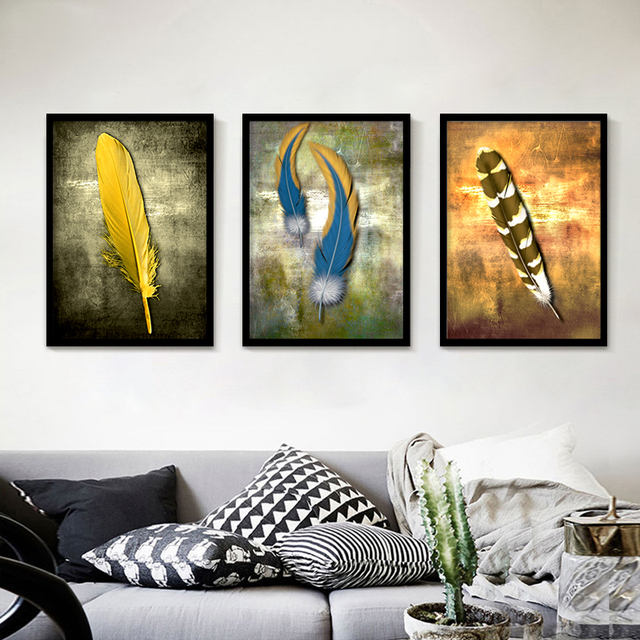 Long Duck Feather Modern Wall Pictures for Living Room Canvas Wall Art Room Decoration Vintage Europe & Long Duck Feather Modern Wall Pictures for Living Room Canvas Wall ...