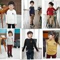 Venda quente de primavera das crianças t-shirts de manga longa bordado camisa dos miúdos roupas 100% de algodão do bebê boys & girls 2-6A