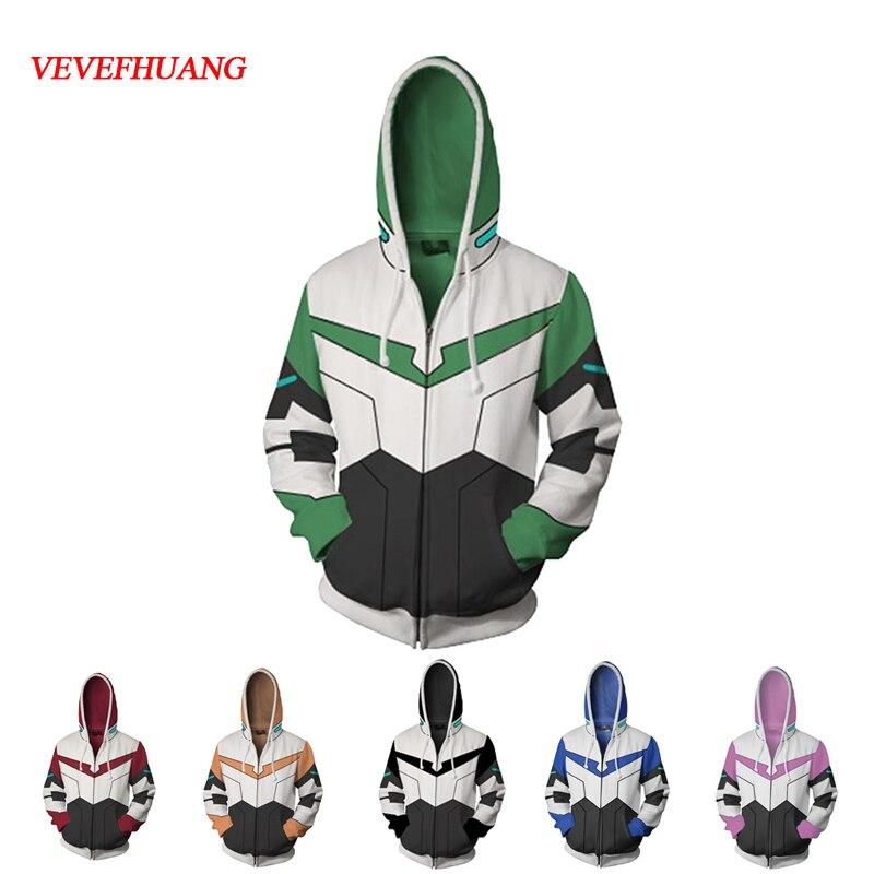 VEVEFHUANG Voltron Leggendario Difensore Lance Shiro giacca cosplay Principessa Costumi Allura 3D Stampa Felpe Con Cappuccio maglione