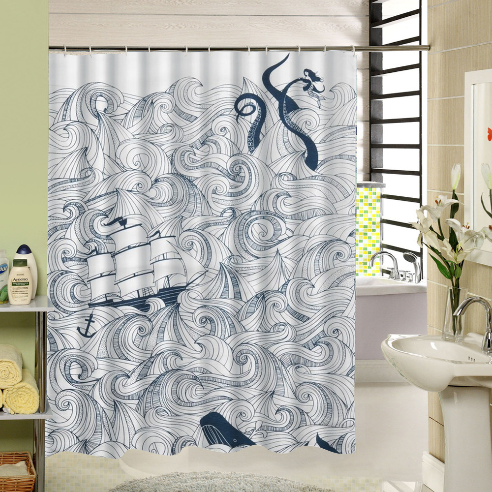 Kraken shower curtain - Shower Curtain White And Black Octopus Design 3d Printing Fabric Bathroom Curtain Long Size For Modern