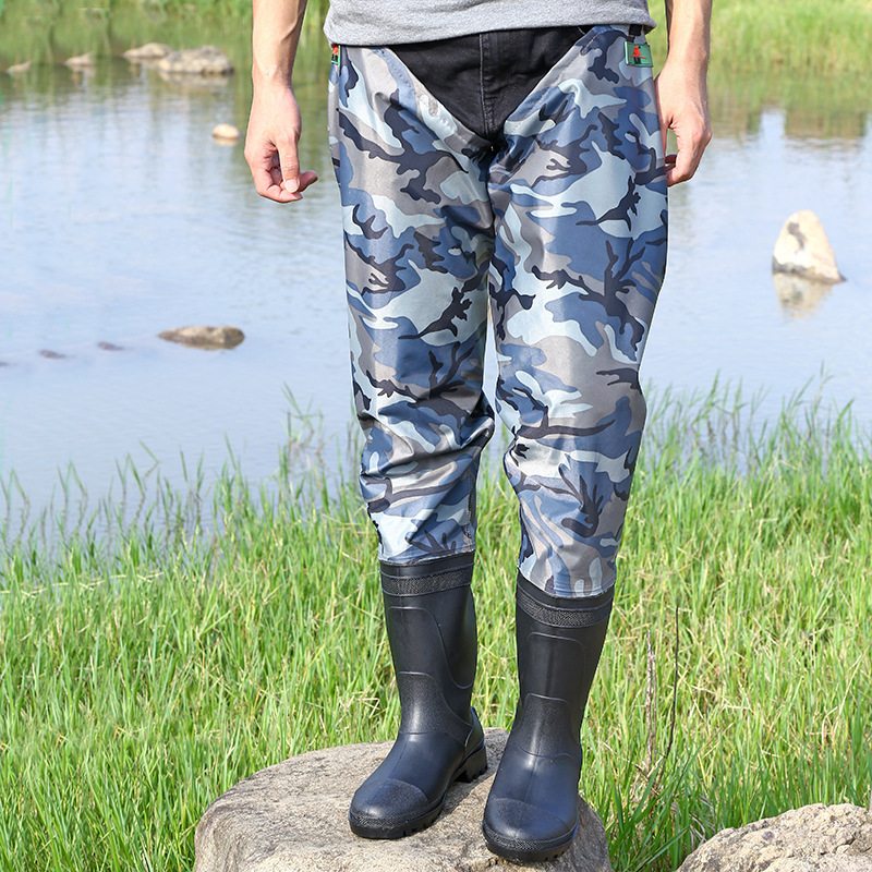 Half Body PVC Nylon Waterproof Catch Fishing Water Trousers Men Women Outdoor Hunting Angling Wearproof Camouflage Wader Pants