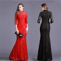 2018 Spring and Autumn Lace long section retro cheongsam dress women's fashion Slim elegant dinner parties queen hollow dress