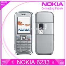 Восстановленное Оригинальное Nokia 6233 мобильный телефон с 2MP камеры 3 г громкий динамик Поддержка русского меню русская клавиатура Бесплатная доставка