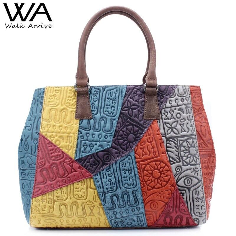 Walk Arrive Genuine Leather Women Handbag Vintage Shoulder Bag Brand Design Oracle Embossed Leather Tote Bag Fashion Purse