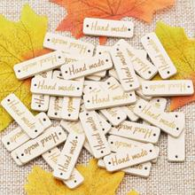KALASO 50Pcs Wooden Handmade Design Label Tags Sewing 2 Holes Buttons Clothing custom label DIY Crafts Supplies Home Decoration
