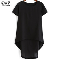 Latest Korean Designers Fashionable Plus Size Female Blusas Casual Black Round Neck Short Sleeve Dip Hem