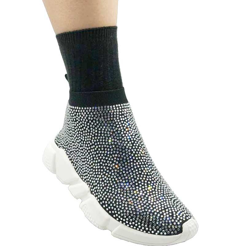 Elehot White Crystal Rhinestone Sneakers 4