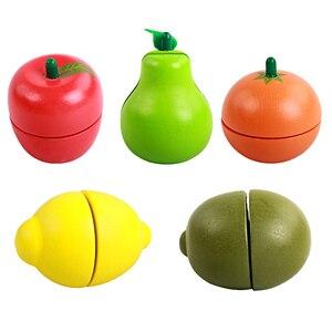 Image 4 - 아기 장난감 교육 절단 과일/야채 세트 나무 놀이 음식 주방 완구 어린이 놀이 집 생일 선물