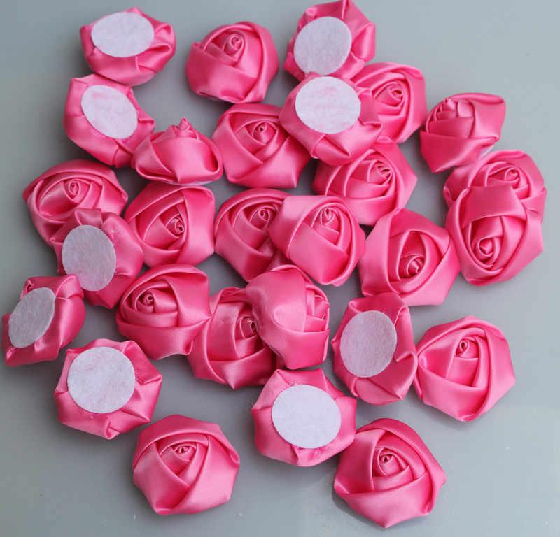 10 pièces/sac pêche taille 3.5 cm Satin ruban Rose fleur soie tissu fleurs main bricolage mariage Bouquet fille cheveux tissu accessoires