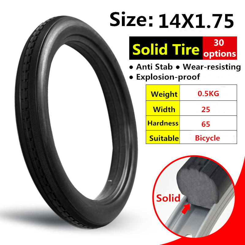 14*1.75 Bicycle Fixed Free Inflatable Solid Tire 14x1.75 Anti Stab Riding Mtb Road Bike Tyre Year-End Bargain Sale