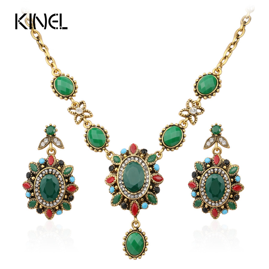 Vintage Look Turkish Jewelry Sets Multi Colour Gold Color Chunky Necklace Earrings For Women Fashion Accessories Gift