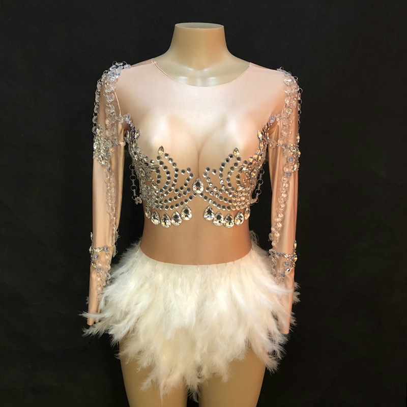 Fashion Gold Tassel Sparkly Rhinestones Bodysuit Female Singer Stage Sexy Costume One piece Clothing White Feather Jumpsuit DJ