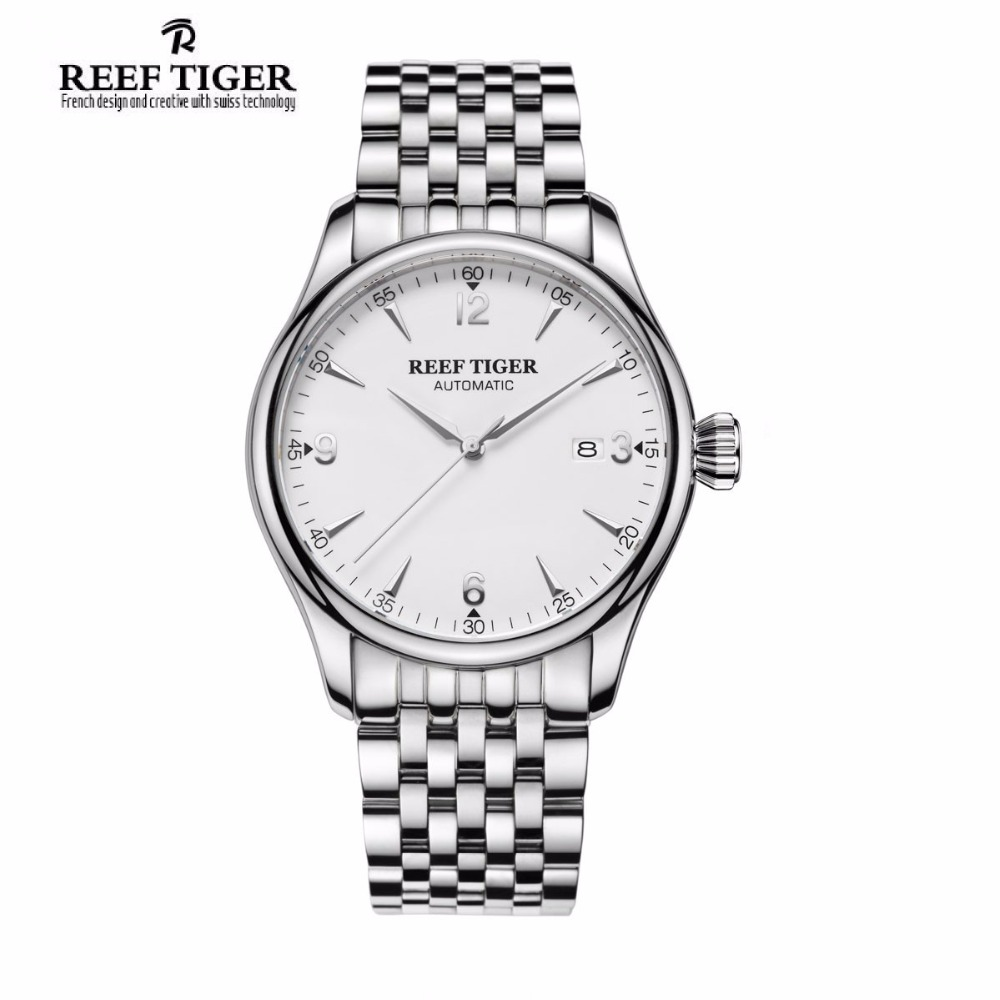 Reef Tiger/RT Top Brand Classic Stainless Steel Watches for Men Ultra Thin White Dial   Analog Automatic Wirstwatches RGA823G 2x yongnuo yn600ex rt yn e3 rt master flash speedlite for canon rt radio trigger system st e3 rt 600ex rt 5d3 7d 6d 70d 60d 5d