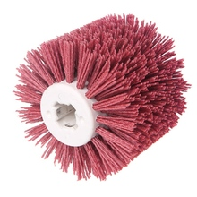 цена на Deburring Red Ceramic Abrasive Wire Round Brushes Head Polishing Buffing Wheel For Furniture Wood Sculpture Rotary Drill Tool