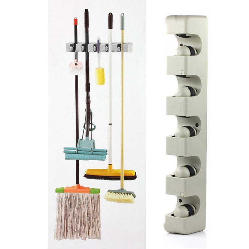 ABS Kitchen Wall Mounted Hanger 5 Position Kitchen Storage Mop Brush Broom Organizer Plastic Wall Mounted Holder Tool