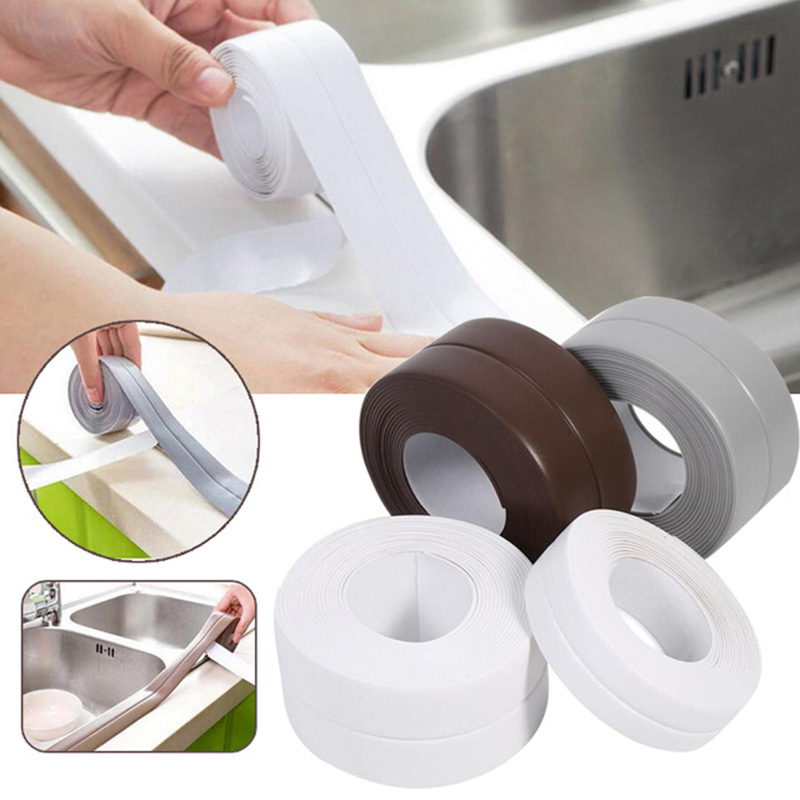 1 Roll Practical PVC Kitchen Bathroom Wall Sealing Tape Waterproof Mold Proof Adhesive Tape Crack Repair Mildew Tape 3.2mx2.2cm