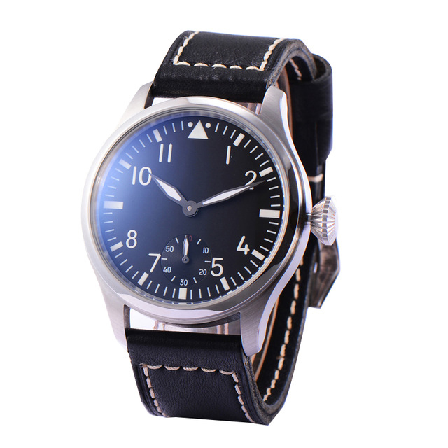 Parnis Mens Business Seperate Second Dial Classic Dress Mechanical Hand Wind Wrist Watches
