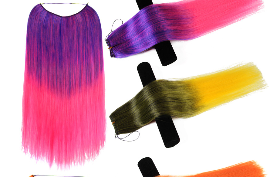 Alileader 22inch Synthetic Hair Extensions Pink Blue Ombre Color Secret Wire Flip On No Clip Hair Extensions Natural Hidden Synthetic Clip-in One Piece Hair Extensions & Wigs