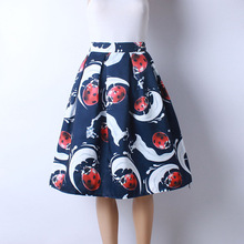 2016 Autumn New Women Fashion Satin Fabric Character Printed Middle Knee-Length Skirts Ladies Ball Gown Pettiskirt