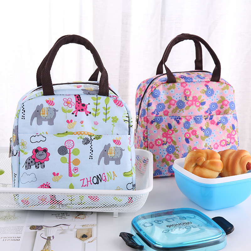 New Waterproof Picnic Lunch Bag Portable Oxford Canvas Tote Bags Food Storage Bags For Women Lunch Box Printing Thermal Bag