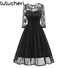 2019 New Women Sexy Lace Pleated Chiffon Dress 1920s Vintage Retro Elegant Spring Half Sleeve Evening Party Stunning Dresses