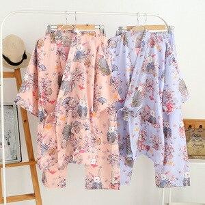 Japońskie kimono szata i spodnie kobiety piżamy ustawia bawełna gaza wanną z hydromasażem Yukata japoński sklep pracy kostium miękkie bielizna nocna