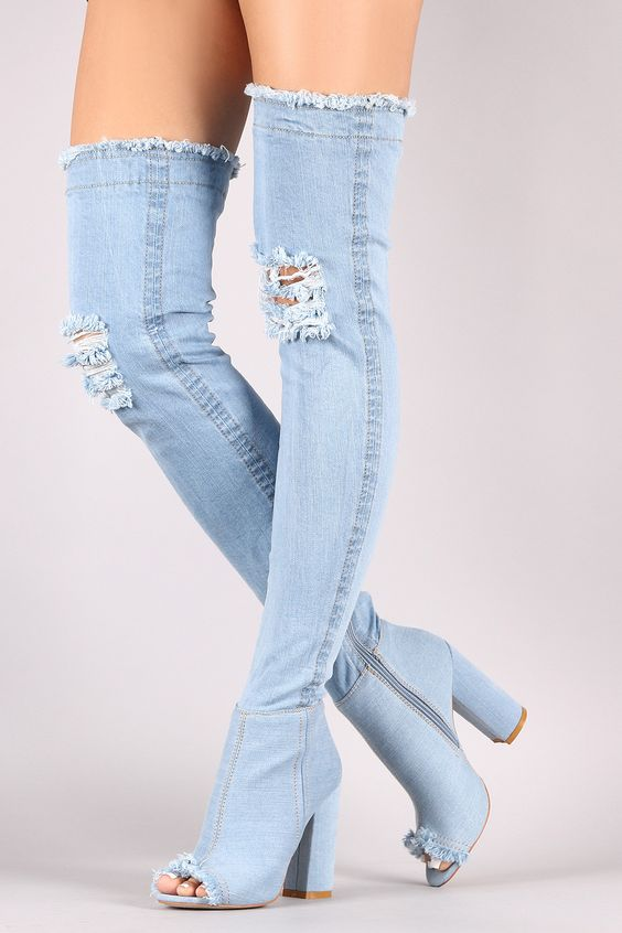 Hot Selling Denim Blue Over The Knee Boots Sexy Chunky Heels Tight High Boots Women <font><b>Jeans</b></font> Peep Toe Gladiator Sandal Boots