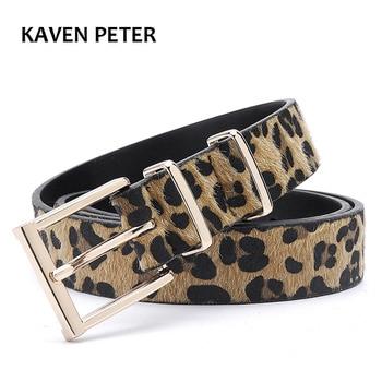 Female Belt Cummerbund Women Horsehair Belt With Leopard Pattern Rose Gold Metal Buckle Women Pu Belt Free Shipping