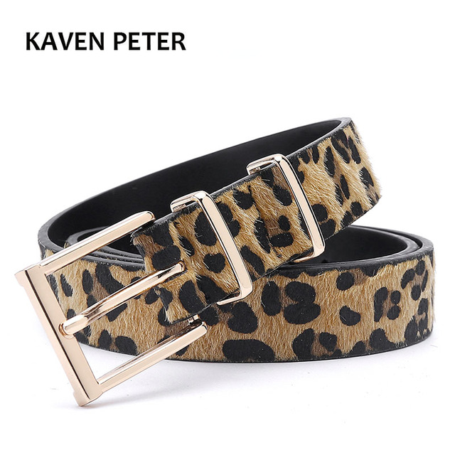 Cinturón mujer/cinturón faja de mujer de crin de caballo cinturón con el patrón de leopardo de oro rosa hebilla de Metal Venta caliente mujer Pu cinturón de envío gratis