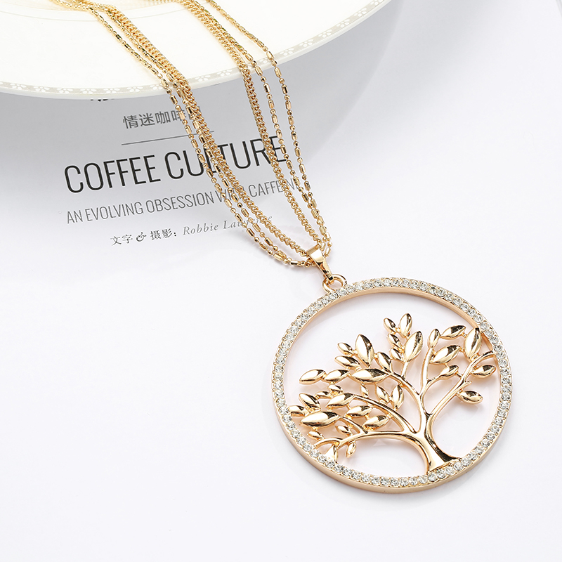 Big Crystal Tree of Life Pendant Necklace Multilayer Long Chains Round Circle Gold Collier Drop Women Jewelry Gift