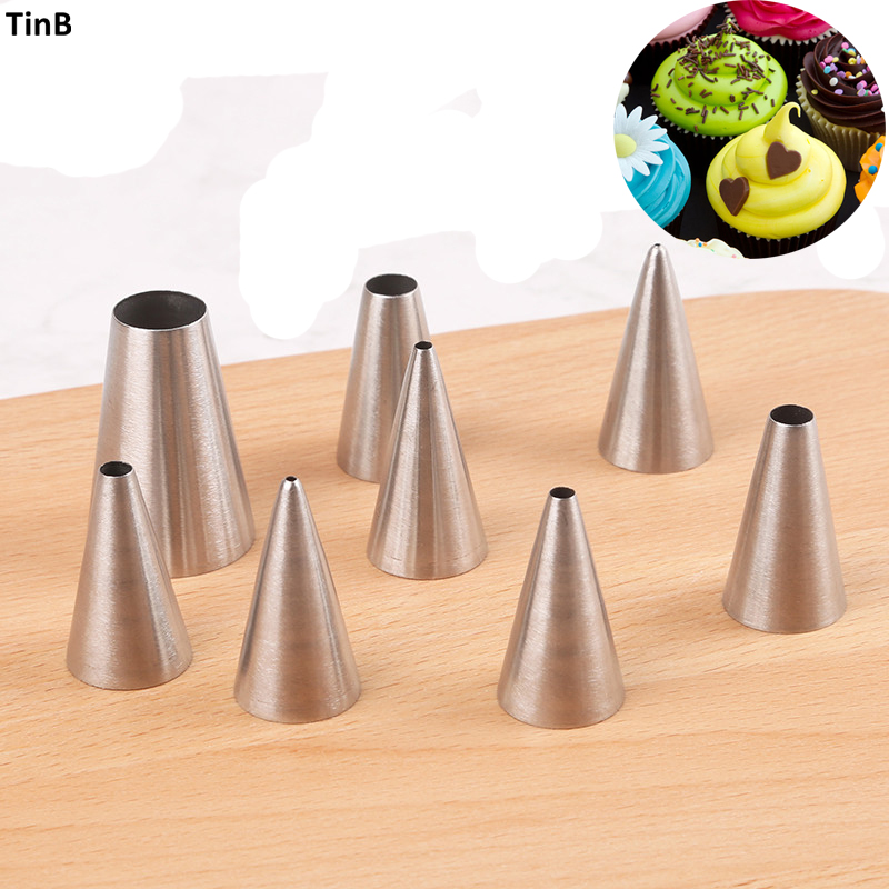 8pcs Round <font><b>cake</b></font> cream nozzles icing piping nozzles DIY <font><b>Cake</b></font> <font><b>Decorating</b></font> <font><b>Tools</b></font> Stainless Steel Tubes Cookie Pastry Cupcake Tips image