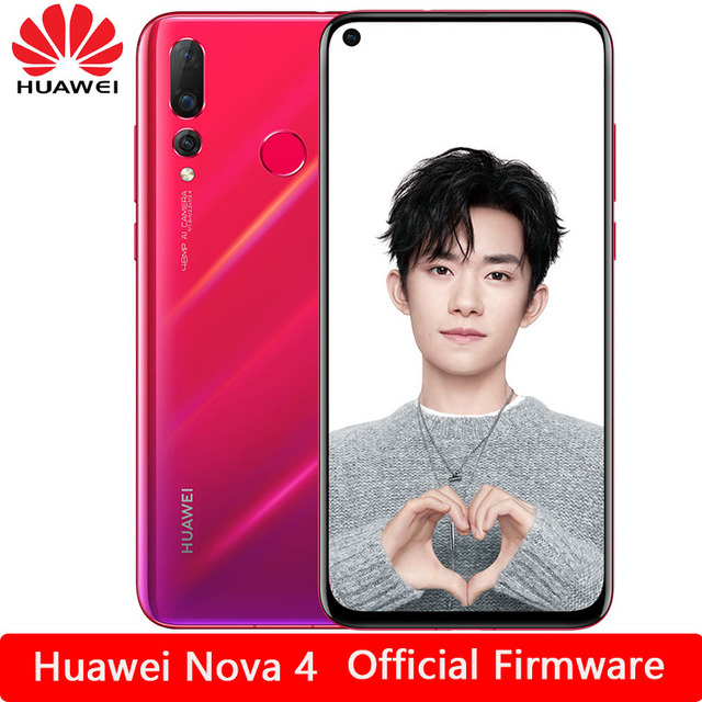 HUAWEI Nova 4 Smartphone Android 9.0 kirin 970 Octa Core FingerPrint ID AI camera 6.4 inch 4*Cameras 3750 mAh Cell Phone