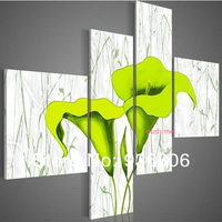 Hand Painted Picture Wall Art Realist Green Lily Flower Painting On Canvas Wall Pictures For Living Room Unique Gift Canvas Art